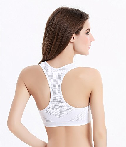 YeeHoo Donne Seamless racerback Pad Removable High Impact Supporto per Workout Correre e Yoga bianca