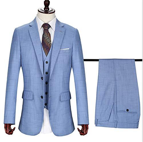 Falten Drei-tasten-anzug (UNIQUE-F Herren Anzüge Einreiher Peak Revers Check Tweed Anzug 3 Stück Plaid Blazer Hosen Weste Dreidimensionale Schneiderei L)