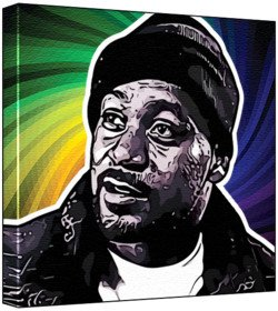Ghostface Killah - Pop Art Print (Multicolour; Psychedelic Swirl Background) 30 x 30 x 2 cm Medium Square Deep Box Canvas