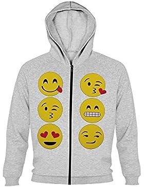 Felpe con cappuccio per ragazze stampate con emoticon sorridenti, Top sportivi per bambini
