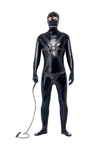 Fancy Me Herren GIMP Anzug Fetisch Bondage Rollenspiel schwarz Junggesellenabschied Abend Party lustig Komödie Kostüm Kleid Outfit - Schwarz, Large