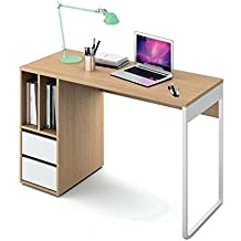escritorio mesa de ordenador multimedia color roble y blanco pata metlica cajones y