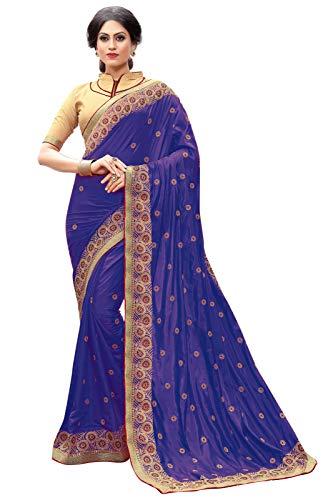 Nivah Fashion Damen Dupion Seide bestickt Saree mit Bluse (K640) Gr. One size, blau Seide Saree