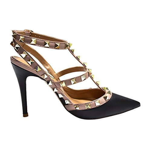 e4a86751ff5 Kaitlyn Pan Women's Leather Studded Slingback High Heel Pumps 8.5 US ...