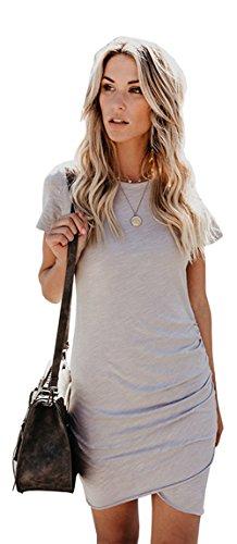 Longwu Frauen Elegante Bodycon Rundhals Kurzarm Mini T-Shirts Beiläufig Kleid Unregelmäßiger Saum Grau-L (Designer Kleider Denim)