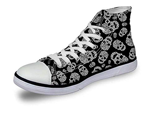 Halloween Skull Women Girls Hi Tops Canvas Flat Lace Up Plimsolls Trainers Shoes C0756AK stylish UK 4 = EU 37