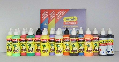 fenstermalfarben 30er Set Window Color: 15 x 2 Flaschen, 80 ml + 50 Vorlagenbögen + 3 Malhefte + 3 Ersatz-Düsen - Qualität aus deutscher Produktion