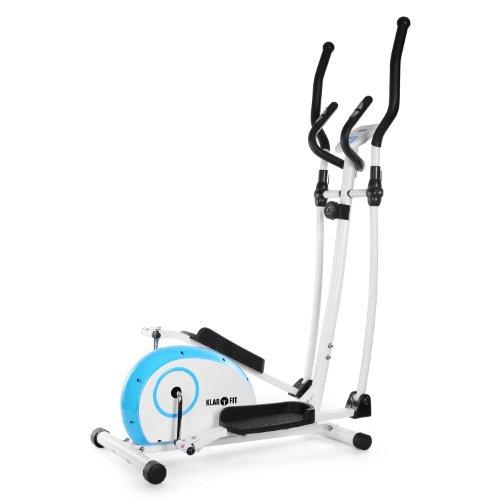 Klarfit ELLIFIT Basic 10 Crosstrainer Heimtrainer inkl. Trainingscomputer (8-stufiger Widerstand, Pulsmesser/Anzeige Kalorienverbrauch) blau-weiß