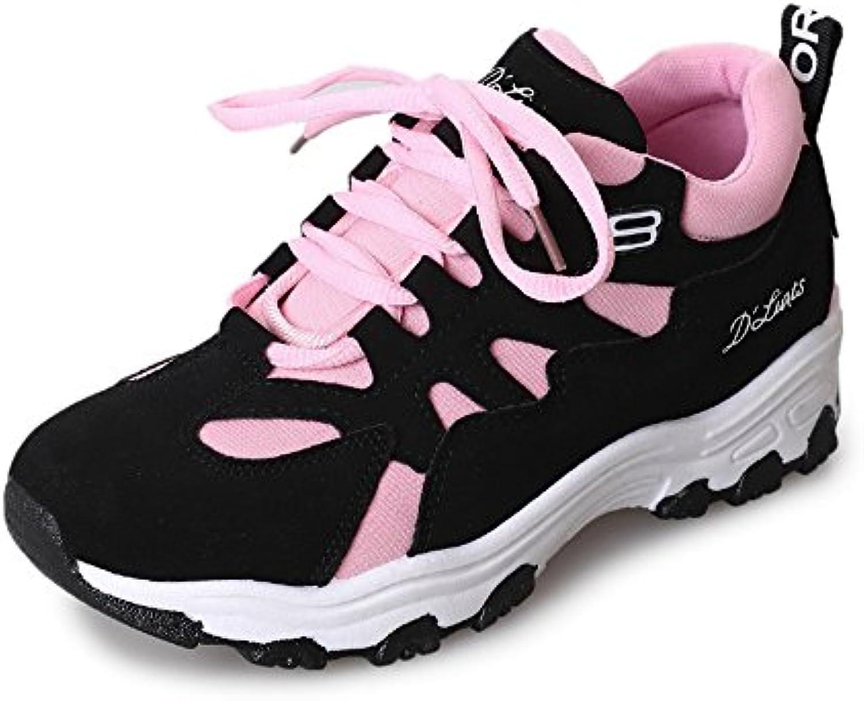 LVZAIXI Zapatos Zapatos deportivos de la versión coreana Zapatos ocasionales gruesos de la moda Zapatos femeninos  -