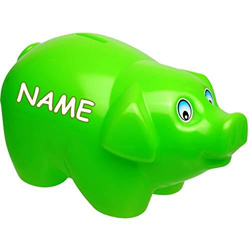 alles-meine.de GmbH große XL - Spardose - Schwein - hell grün - inkl. Name - 19 cm groß - stabile Sparbüchse aus Kunststoff / Plastik - Sparschwein - Glücksbringer - für Kinder &..
