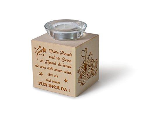 Teelichthalter aus Zirbenholz Wahre Freunde sind wie Sterne am Himmel...