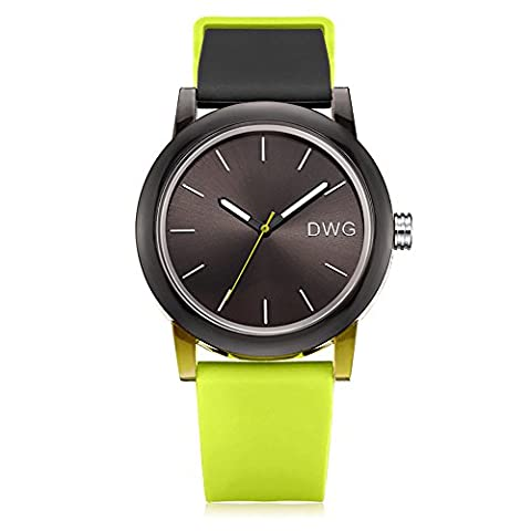 DWG Unisex Silicone Strap Couple Montre Quartz Sports Watch Casual Simple Style Silicone Strap Unisex Wristwatch Sports Montres-Black Dial (Vert clair)