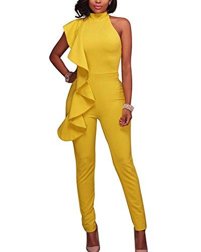 3bb0c5726f6d Tute da cerimonia donna senza maniche monopezzi elegante jumpsuit balze  lungo palazzo pantaloni giallo s