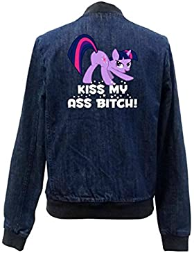 Kiss My Ass Bitch Pony Bomber Chaqueta Girls Jeans Certified Freak