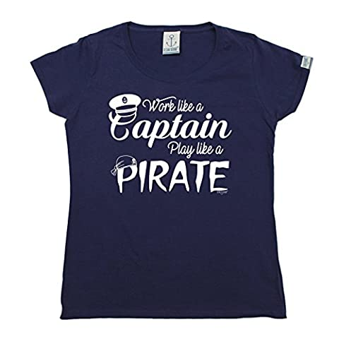 PREMIUM Ocean Bound - Womens Work Like A Captain Play Like A Pirate FITTED T-SHIRT tee / sailing funny fashion birthday gift yacht boat accessories captain crew clothing christmas present for