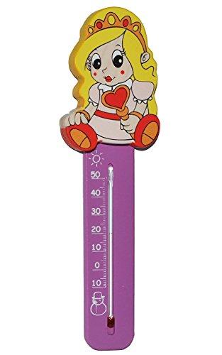 Unbekannt Thermometer - Prinzessin / Mädchen mit Herz - aus Holz - für Kinder - Kinderthermometer - Wandthermometer / Kinderzimmer - Wärme Kälte - Holzthermometer - Ana..