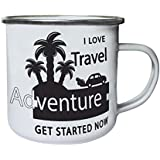 Nuevo I Love Travel Adventure Retro, lata, taza del esmalte 10oz/280ml l955e