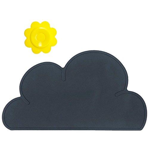 BITEYI Salvamantel,Silicona Mantel Mat Mantel Individual Estera de tabla Para Bebé y Niño,Forma de Nube,Lavable,Antideslizante (Negro)