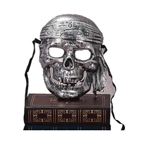 (Vikenner Halloween Skull Skeleton Maske Pirat Gesichtsmaske Horror Masken für Party Festival Kostüm Cosplay Gesicht Requisiten Erwachsene-Altes Silber)
