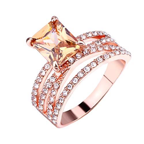 Floweworld 3PC einfache Temperament-Diamant-Ringe für Damen-geometrische quadratische Ring-Schmuck-Geschenke