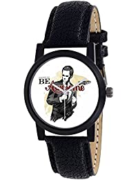 """DLG Festival Special Collection""""Be Awesome"""" Theme Black Round White Dial Black Leather Strap Wrist Watch For Boys..."""