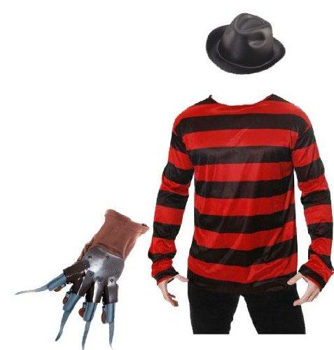 Kostüm Freddy Krueger, Pullover und Handschuhe Halloween Fancy Dress, Mehrfarbig - Mehrfarbig, Jumper (Krueger Schuhe Freddy)