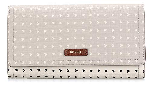 Fossil Logan Flap Clutch Hearts -