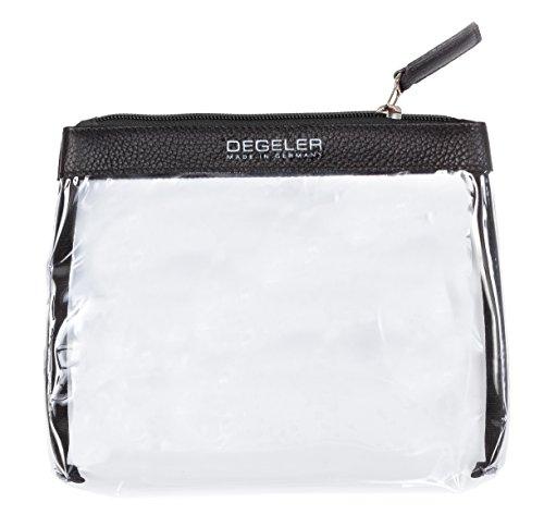 Transparente Kulturtasche aus echtem Kalbs-Leder | zur Mitnahme von Flüssigkeiten im Handgepäck geeignet | DEGELER Clear Bag für Flug-Reisen | verschließbare Kosmetiktasche mit Reißverschluss