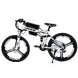 FJW Bicicleta de montaña eléctrica, E-Bici de 26 Pulgadas Unisexo Acero de Alto Carbono Rueda integrada de 3 radios, Suspensión y Shimano 21 Speed Gear Híbrido para Commuter City