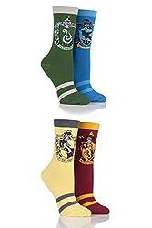 Film & TV Characters Damen 4 Paar Harry Potter Haus Abzeichen Socken sortiert 4-8 Damen