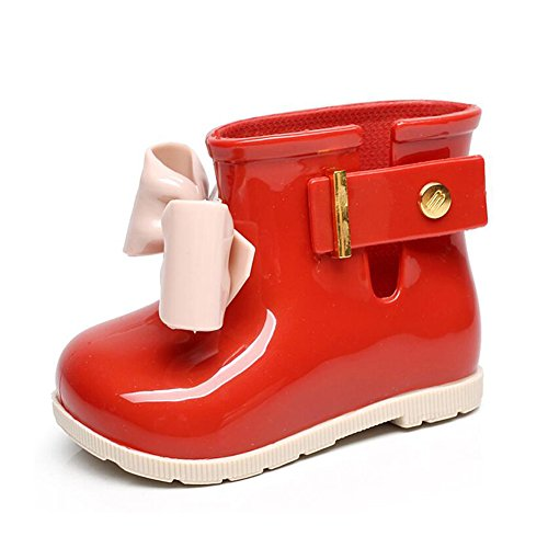 Meijunter Baby Girls Kids Cute Bow Non-Slip Toddler Rainboots Waterproof Shoes Rain Boots Children Ankle Boots Winter Boots