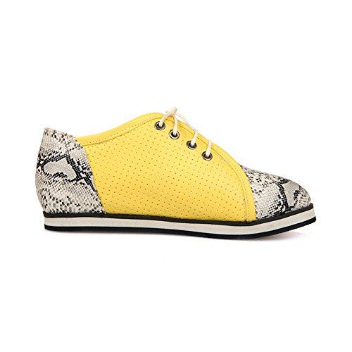 VogueZone009 Damen Rund Zehe Weiches Material Gemischte Farbe Schnüren Pumps Schuhe Gelb