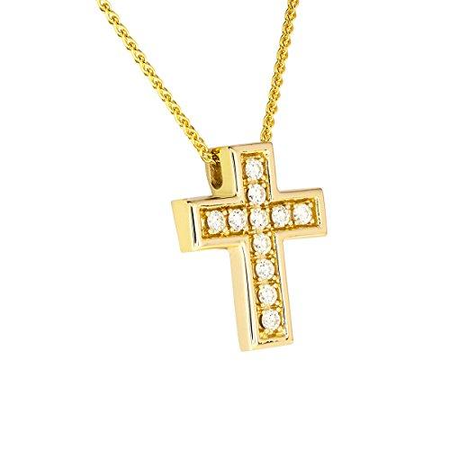 Diamond Line Damen - Halskette 585er Gold 11 Diamanten ca. 0,25 ct., gelbgold