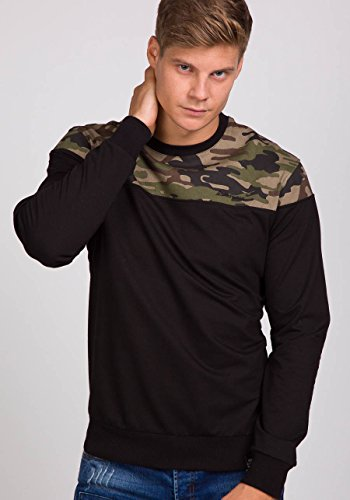 BOLF Herren Sweatshirt Langarmshirt Pullover Sweatjacke Pulli Camo Mix 1A1 Motiv Schwarz_0432