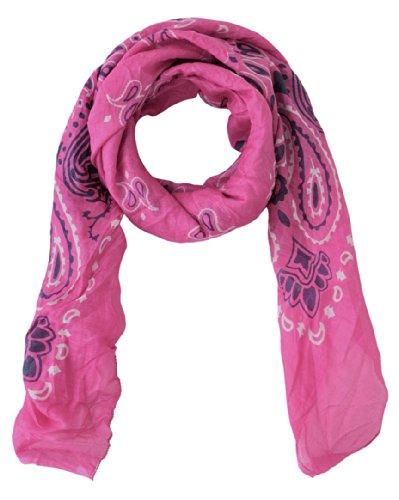 Turtle Bay - Foulard - Paisley -Bandana - Taille : 100 x 100 cm Flamingo Pink