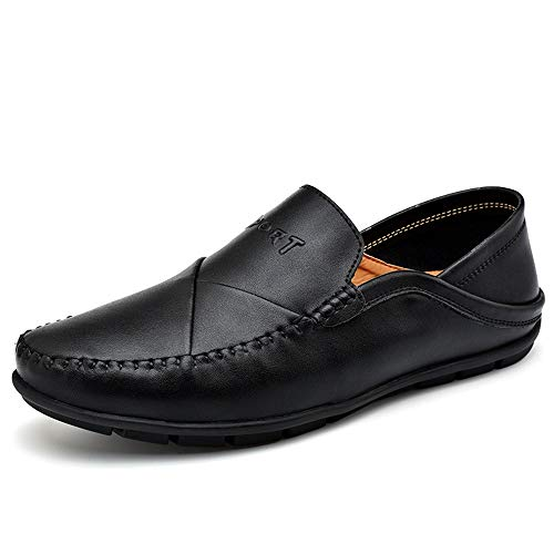Zapatos de Barco de lujo Driving Loafers for Herren Gommino Slip on Echtleder Erfahren Genäht Super Soft Classic Modern Lug Sole Two Wear Design QingYG-BC (Color : Schwarz, Größe : 39 EU) -