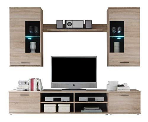 Avanti trendstore - kalle - parete da soggiorno con luci led comprese, in legno laminato, disponibile in 2 colorazioni diverse. dimensioni lap 230x180x40 cm (marrone)
