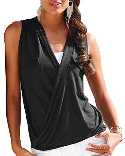 YOINS Top Damen Sexy Bluse Sommer V-Ausschnitt Oberteil Lose Weste Tunika Damen Tiefer T-Shirt Einfarbig Schwarz EU36-38 - Deep V-neck Tunika Top
