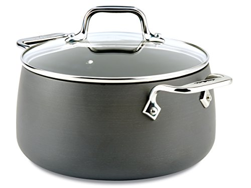 All-Clad E7854464 HA1 Hard Anodized Nonstick Dishwasher Safe PFOA Free Soup Pot / Stock Pot Cookware, 4-Quart, Black