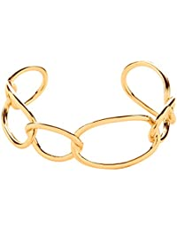 Front Row pulsera mujer color de oro óvalo abierto