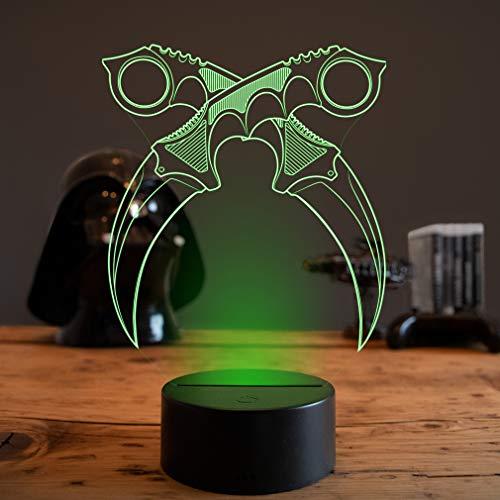 3D LED Deko Lampe CSGO Karambit Messer 2 - Elbeffekt - Karambit Messer Klappmesser Gaming Dekoration - Nerd Gamer Zocker Geschenk