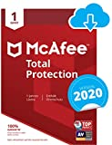 McAfee Total Protection 2020 | 1 Gerät | 1 Jahr | PC/Mac/Smartphone/Tablet | Download Code