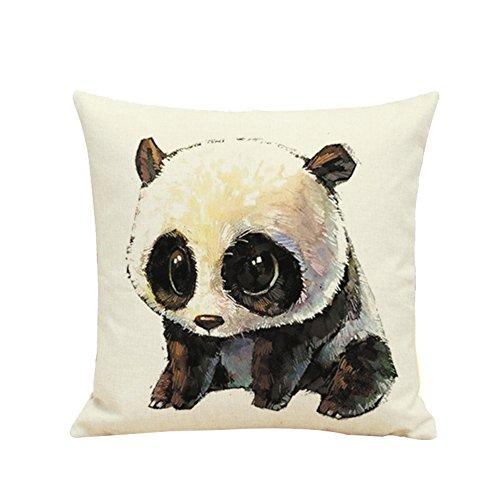 WDOIT Kissenbezug, niedliches Panda, Leinen, Kissenbezug fürs Auto, Dekokissenbezug, Kissenbezug ohne Kissen -