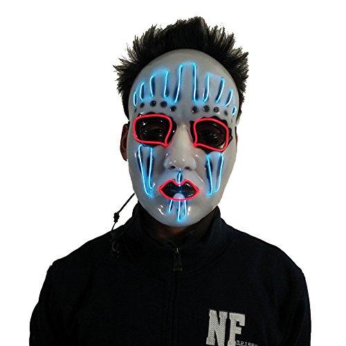 AnseeDirect Slipknot Maske Halloween Maske Clown Maske mit EL Wire Light 4 Modi Veränderbar Strapazierfähiges ABS Material für Halloween Karneval Maskenball Unfug