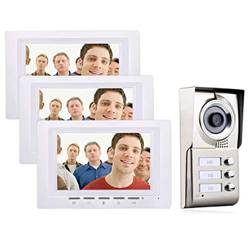 AXNYLHY Video Tür Telefon klingeln, 7 Zoll Video Tür Telefon Intercom System IR-Cut HD 1000TVL Kamera Türklingel Kamera mit 3 Monitor wasserdicht (Tür Kamera Intercom-system)
