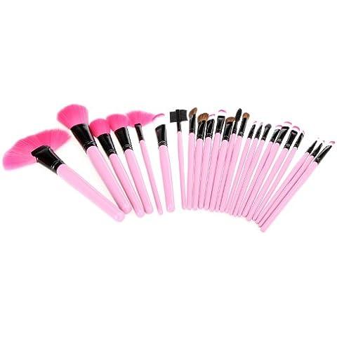 Abody 24pcs Set de Brochas cosméticas Kit de Cepillos profesionales de maquillaje con bolsa enrollada de cuero