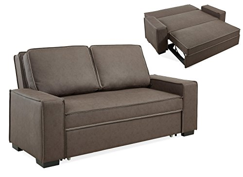 Mobilier Deco Canapé 3 Places Marron Convertible RAPIDO