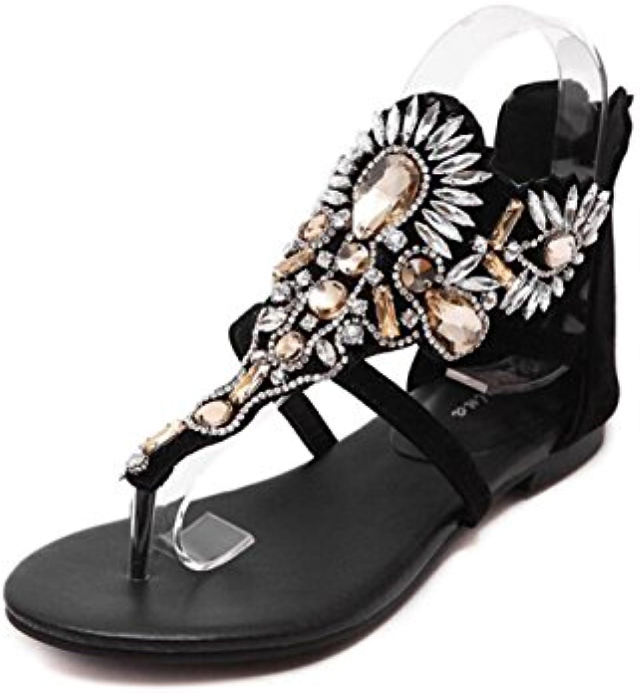 Sandalias para Mujer de Cuero sintético Sandalias de Verano Bohemian Comfort Tacón Plano Estilo étnico Zapatos
