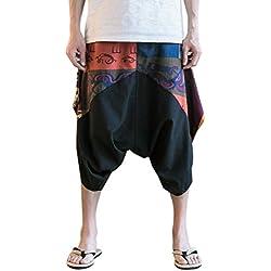 Zhhlinyuan Pantalones Cagados Cortos para hombres y mujeres Harem Pantalón Baggy Yoga lino harén pantalones corte suelto cordón cintura elástica