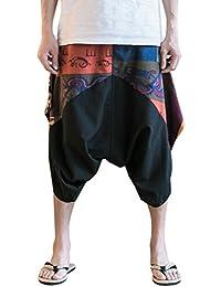 Zhhlinyuan Pantalones Cagados Cortos para hombres y mujeres Harem Pantalón  Baggy Yoga lino harén pantalones corte 19a5360af152